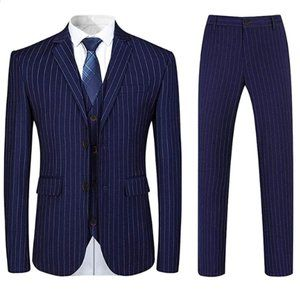 Mens Formal Pinstripe Slim Fit Notched Lapel